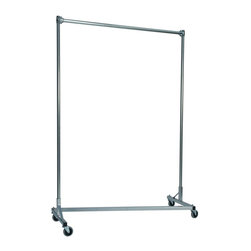 Z Racks - Heavy Duty Z-Rack Garment Rack w 5 ft. Single - Base Color: Silver. 500lb capacity. 14 gauge, 60 in. Long steel base (Environmentally safe powder coated finish ). 16 gauge, 84 in. upright bars and hang rail. 1 5/16 outside diameter upright bars and hang rail. Grey non-marking soft rubber with TP center 4 in. casters. Made in the USA. 63 in. L x 23 in. W x 91 in. HWith 82 in. of vertical hang space, and 58 in. of horizontal space, this Z- rack boasts the extra room you need to expand. Because it is extra-tall, our Z-Rack is used by bridal shops, formal wear stores, church choirs and costumers alike. But that doesn�۪t mean it wouldn�۪t be perfect for your organizational needs. With a five foot base, seven foot uprights, and 500 lbs in load capacity, we think you�۪ll find it to be an all-purpose addition to any garage, basement or storage unit.
