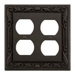 Floral Design Solid Brass Double Duplex Outlet Cover - This Floral Design Solid Brass Double Duplex Outlet Cover is commonly found in most homes. It accommodates two sets of duplex outlets and features a beautiful floral design border.