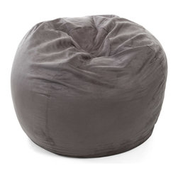 Great Deal Furniture - Sammy 3 Ft Faux Suede Microfiber Fabric Bean Bag, Charcoal Grey - The Sammy Bean Bag provides you with a comfortable seat for any room. Adult sized at 3 feet, the puncture-proof cover is durable for anyone. The faux suede microfiber provides a comfortable experience with a combination of Eco-friendly recycled foam and poly bean filled interior.