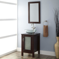 "19"" Massey Vanity Cabinet with Vessel Sink and Mirror - The space-saving Massey Vanity Cabinet comes complete with a vessel sink. An open-back design makes it easy to install a faucet and drain."