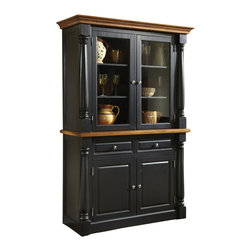 Home Styles - Home Styles Monarch Buffet and Hutch in Black and Oak Finish - Home Styles - Buffet Tables and Sideboards - 5008617