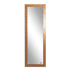 Rayne Mirrors - American Made Safari Bronze 19 x 58 Slender Body Mirror - Create dramatic visual appeal in your space with this safari inspired framed tall mirror.  Its beautiful bronze and black grain texture adds interest to any space.  Each Rayne mirror is hand crafted and made to order with American products.  All hardware included for vertical or horizontal hanging, or perfect to lean against a wall.