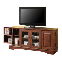"""Walker Edison - 52"""" Media Storage Wood TV Console - Traditional Brown - Elegance and function combine to create this solid wood TV console. The traditional design allows for an ideal fit in any setting. Console will accommodate most flat-screen TV's up to 55"""". Varied shelf and door storage offer ample room for entertainment needs."""