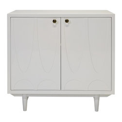 Worlds Away - Worlds Away White Lacquer Two Door Cabinet IRVING WH - White lacquer 2 door cabinet with gold detailed glass knob hardware. Adjustable shelf and drill out in interior.