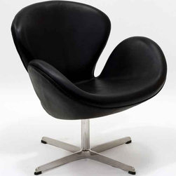 Modway - Wing Chair In Black Aniline Leather - Eei-527-Blk - High Density Foam Cushioning