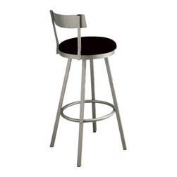 Monarch Specialties - Monarch Specialties 29 Inch Swivel Barstool (Set of 2) - These swivel barstools will be the perfect addition to any dining space. They feature sleek legs and a low profile seat back finished in a silver metal, as well as black microfiber seat cushions and a well positioned footrest for added comfort. What's included: Barstool (2).