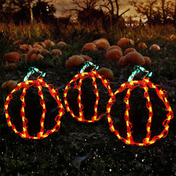 Frontgate - Set of Three Mini Pumpkin LED Displays - Outdoor Christmas Decorations - Commercial-grade lights. Steel frame. 35 orange and green LED lights. 125V. UL listed. Add some autumn spice to your yard with our LED Mini Pumpkin Set. Intensely bright LED lights use less electricity than incandescent and generate very clear, crisp colors, making them especially ideal for holiday decor. Adorned with 35 glistening green and orange lights, this set of three is a perfectly cheerful way to instantly illuminate any crisp, fall night.  .  .  .  .  . Lead cord measures 5'L . Includes mini stakes .