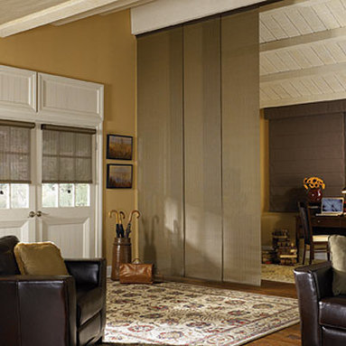 Bali Sliding Panels Roller Shade Fabrics - Bali Sliding Panels offer a modern alternative to standard window treatments! Perfect for patio doors, wide windows or as a room divider, these versatile panels slide along a smooth operating aluminum track. Best of all, Sliding Panels are available in most of the same material styles and colors featured in the Roman, Roller, Solar and Natural Shade collections for a perfectly coordinated look.