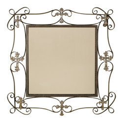 Welcome Home Accents - Oil Rubbed Bronze Square Cross Accents Wall Mirror - Square wall mount mirror in an oil rubbed bronze finish featuring aged gold cross accents. Hook on back for easy hanging Wipe with a dry cloth. Made in China