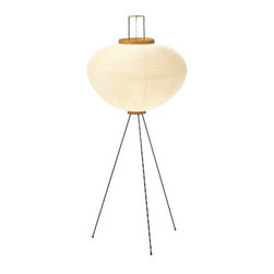 Akari - Globe Floor Lamp - Globe floor lamp features and ivory handmade Washi paper shade with bamboo ribbing on black metal frame. Akari Light Sculptures by Isamu Noguchi are considered icons of 1950s modern design. One 60 watt, 120 volt, A19 medium base incandescent lamp not included. General light distribution. Made in Japan. 21 inch diameter x 50 inch height.