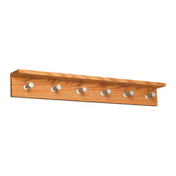 "Safco - Contempo Wood Wall Rack, 6 Hook - Oak - Be Contempo. The contemporary design adds style and functionality to your office or reception area. These wood based coat racks come in two finishes: Medium Oak (MO), Mahogany (MH) and Cherry (CY) and include an integrated shelf to hold your personal items (compact umbrella, sunglasses, cell phone, etc...) The satin aluminum hooks are conical shaped to protect your garments, yet offer a distinctive touch. Choose from three sizes (2, 4 or 6 hook) to be used alone or in combination to meet your garment storage needs.; Features: Material: Aluminum, 3/4"" Compressed Wood; Color: Oak; Finished Product Weight: 6.6 lbs.; Assembly Required: No; Limited Lifetime Warranty; Dimensions: 36""W x 4""D x 4 3/4""H"