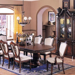 Acme Furniture - Heriloom Double Pedestal 7 Piece Dining Set - 6840-7set - Includes Table, 2 Arm chairs and 4 Side Chairs