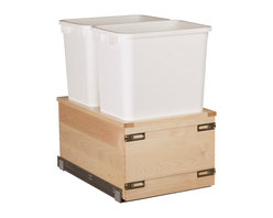 """Century Components - Century Components 35 Qt Double Soft Close Pull Out Waste Bin - White, 17-7/8"""" - 35 Qt White Double Blum Bottom Mount Kitchen Pull Out Waste Bin Container - 17-7/8""""W x 19""""H x 21""""D. This unit is designed to be inserted into a new or existing cabinet with an opening width of 18""""-21"""", & features (2) 35 Quart waste bin containers. Century Components SIGBM17PF is made from Solid Wood Maple with Dovetail Construction with a clear natural finish for great appearance, quality and durability."""