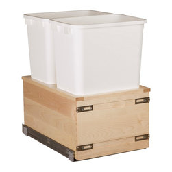 "Century Components - Century Components 35 Qt Double Soft Close Pull Out Waste Bin - White, 17-7/8"" - 35 Qt White Double Blum Bottom Mount Kitchen Pull Out Waste Bin Container - 17-7/8""W x 19""H x 21""D. This unit is designed to be inserted into a new or existing cabinet with an opening width of 18""-21"", & features (2) 35 Quart waste bin containers. Century Components SIGBM17PF is made from Solid Wood Maple with Dovetail Construction with a clear natural finish for great appearance, quality and durability."