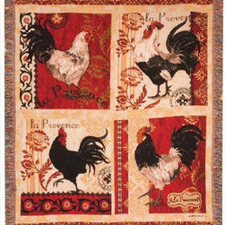 Manual - La Provence Roosters Tapestry Throw Blanket 50 Inch x 60 Inch - This multicolored woven tapestry throw blanket is a wonderful addition to the decor of any bird lover. Made of cotton, the blanket measures 50 inches wide, 60 inches long, and has approximately 1 1/2 inches of fringe around the border. The blanket features a print of 4 different 'La Provence' roosters. Care instructions are to machine wash in cold water on a delicate cycle, tumble dry on low heat, wash with dark colors separately, and do not bleach. This comfy blanket makes a great housewarming gift that is sure to be loved.