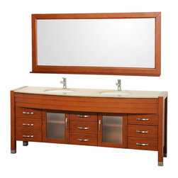"Wyndham Collection - Daytona 78"" Double Vanity w/ Ivory Marble Top & White Porcelain Undermount Sink - The Daytona 78"" Double Bathroom Vanity Set - a modern classic with elegant, contemporary lines. This beautiful centerpiece, made in solid, eco-friendly zero emissions wood, comes complete with mirror and choice of counter for any decor. From fully extending drawer glides and soft-close doors to the 3/4"" glass or marble counter, quality comes first, like all Wyndham Collection products. Doors are made with fully framed glass inserts, and back paneling is standard. Available in gorgeous contemporary Cherry or rich, warm Espresso (a true Espresso that's not almost black to cover inferior wood imperfections). Transform your bathroom into a talking point with this Wyndham Collection original design, only available in limited numbers. All counters are pre-drilled for single-hole faucets, but stone counters may have additional holes drilled on-site."