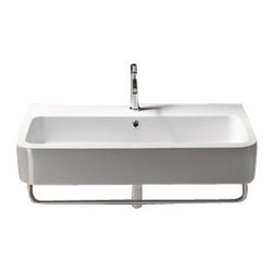 GSI - Curved Rectangular White Ceramic Wall Mounted or Vessel Bathroom Sink, Two Hole - Contemporary design, curved white ceramic wall mounted or vessel bathroom sink.