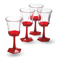 Frontgate - Set of Four Kim Seybert Goblets - Sold in sets of 4. Made from impact-resistant acrylic. Hand wash pitcher; all others, top-rack dishwasher safe. Coordinates with our entire Kim Seybert Collection. The coral hue of the Kim Seybert Coral Drinkware Collection brings the taste of the tropics right to your backyard or beach house. This crystal clear acrylic drinkware features a beautiful coral accent.. . . . Imported.