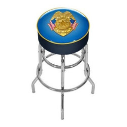 Trademark Global Police Officer Padded Swivel Backless Bar Stool - Support yourself at your favorite watering hole while supporting the boys in blue with the dynamic design of the Trademark Global Police Officer Padded Swivel Backless Bar Stool with detailed shield and American flag accents. This is a top-of-the-line stool for your game room, garage, or bar that boasts a comfortable seat height, 360-degree swivel for added versatility, and its long-lasting construction is something special that you'll be praising for years to come. The authentic logo is UV-protected, scratch-resistant, and highlighted by marine-grade vinyl sides trimmed with quarter-inch vinyl beading. The seat is cushioned with foam padding and spins atop a lightweight and supportive base. How supportive? We're talking double rung reinforced legs made of chrome-plated tubular steel! If you want style, function, and comfort, then you've found the perfect stool.About Trademark Global Inc.Located in Lorain, Ohio, Trademark Global offers a vast selection of items for your home and lifestyle. Whether you need automotive products, collectibles, electronics, general merchandise, home and garden items, home decor, housewares, outdoor supplies, sporting goods, tools, or toys, Trademark Global has it at a price you can afford. Decor items and so much more are the hallmark of this company.