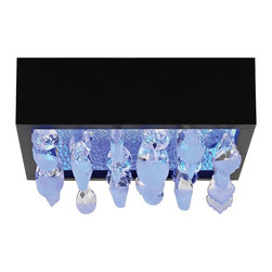 """LBL Lighting - LBL Little Lulu 10 1/2"""" Wide Black LED Ceiling Light - This striking black flush mount is an ideal design for the contemporary home. A clear glass shade with frost crystals offers a welcome touch of refinement. LED lamping ensures warm light and energy savings. Little Lulu Collection ceiling fixture. Black finish. Suspended clear/frost crystals. LED color can be adjusted with included control. Dimmable with a low-voltage electronic dimmer. Includes one 12 watt LED RGB module. LED module. Lumens: 1000 Kelvin: 2700K CRI: 80. 3"""" high. 10 1/5"""" wide.   Little Lulu Collection ceiling fixture.  Black finish.  Suspended clear/frost crystals.  LED color can be adjusted with included control.  Dimmable with a low-voltage electronic dimmer.  Includes one 12 watt LED RGB module.  LED module. Lumens: 1000 Kelvin: 2700K CRI: 80.  3"""" high.  10 1/5"""" wide."""