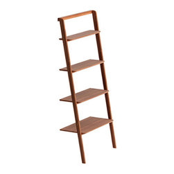 Leaning Ladder Bookshelf - There's no reason to clutter up your home with excessive furniture. This simple bookshelf will make stacking up your books a cinch, while giving them a streamlined look.