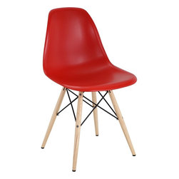 Modway - Pyramid Dining Side Chair, Red - These molded plastic chairs are both flexible and comfortable, with an exciting variety of base options. Suitable for indoors or out, appropriate for the living and dinning room, these versatile chairs are a great addition to any home decor statement.