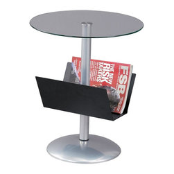 Adesso - Sutton Magazine Table in Black Finish - Pour yourself a fresh cup of OJ and then a grab a copy of Spin, Vogue, or The Enquirer from your Sutton Magazine Table.  Chic and contemporary, this piece has a trendy Internet-café-in-downtown-L.A.-or-in-New-York element to it, so enjoy.  Small, light, compact, and useful, this little round table packs a lot of punch for its size.  Loaded with features like a sturdy magazine rack and a beautiful glass top, it displays all its gleaming glory in a way that will make your eloquently beautiful living room or other part of your home that much more eloquent and beautiful.  The smoky tempered glass tabletop is sturdy, and the black finished metal magazine holder will offer ample storage while keeping the clean modern style of your space. * Black metal magazine rack. Powder coated steel base and tempered glass table top. 18 in. Dia. x 22 in. H x 12 in. Dome base. Magazine rack: 12.5 in. W x 5 in. D x 6.5 in. H
