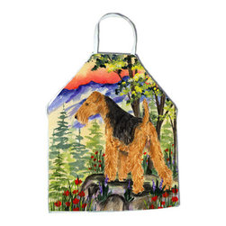 Caroline's Treasures - Welsh Terrier Apron - Apron, Bib Style, 27 in H x 31 in W; 100 percent Ultra Spun Poly, White, braided nylon tie straps, sewn cloth neckband. These bib style aprons are not just for cooking - they are also great for cleaning, gardening, art projects, and other activities, too!
