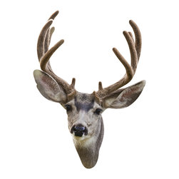 Walls Need Love - Fuzzy Antler Deer Mount Decal - Of all mountable animal heads, the deer is by far the most popular. But hunting can so be exhausting. Not to mention expensive. Between the gun, the amo, the permits and the taxidermist youre looking at a down payment on a new house, right? Skip the work and the expenses by going with this deer head wall decal instead.