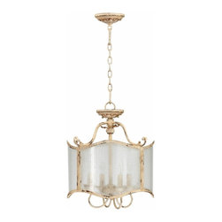 Distressed White Vintage French  4 Light Dual Mount Fixture - *Maison Four Light Dual Mount