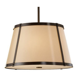 Feiss - Keaton Drum Pendant by Feiss - Warm light juxtaposed with a contemporary form makes the Murray Feiss Keaton Drum Pendant a fantastic addition to soft contemporary spaces. A Bronze Organza fabric shade and chocolaty Heritage Bronze finish evenly diffuse and warm the light, a great feature for the living room and kitchen.