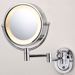 """Halo Swinging Lighted Vanity Mirror - A round, two-sided lighted mirror attached to an extendable swinging arm that reaches 15"""" from the wall."""