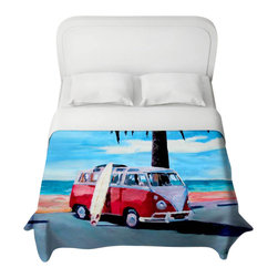 DiaNoche Designs - The Red Bus Volkswagen Duvet Cover - Lightweight and super soft brushed twill duvet cover sizes twin, queen, king. Cotton poly blend. Ties in each corner to secure insert. Blanket insert or comforter slides comfortably into duvet cover with zipper closure to hold blanket inside. Blanket not Included. Dye Sublimation printing adheres the ink to the material for long life and durability. Printed top, khaki colored bottom. Machine washable. Product may vary slightly from image.