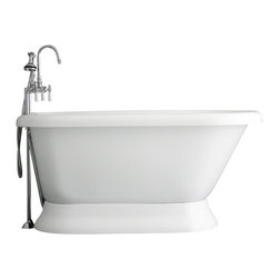 "Baths of Distinction - Hotel Collection Classic Pedestal Bathtub/Faucet Package, 59"" Length - Package consists of a classic style 59"" pedestal bathtub in along with hardware including faucet with handheld shower, drain with lift off stopper, and straight supply lines all in chrome.  Bathtub is made of CoreAcryl acrylic with a resin/powdered stone filler.  Bathtub has a built in aluminum heat barrier within the tub body.  The surprise with this bathtub is the floor room and the depth found in it for a bathtub."