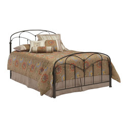 Fashion Bed - Fashion Bed Pomona Metal Panel Bed in Hazelnut-King - Fashion Bed - Beds - B11756 - This bed fuses together unusual design elements to create a charming silhouette. The headboard and footboard incorporate arching cross rails that are joined by quiet floral castings to the long spindles. Lovely uncommon fluted bed posts anchor a straight bottom cross rail and a slightly curved top rail. The hazelnut finish adds a warm tone to the bedroom. The Pomona Bed, named for the Roman goddess of fruit trees, gardens, and orchards, is a striking focal point for any bedroom in the home.