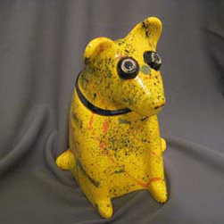 Mercedes Pottery - Dog Treat Jar Yellow - Ceramic, earthenware clay, Dog Treat, Jar