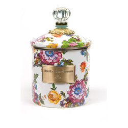 Flower Market Small Enamel Canister - White   MacKenzie-Childs - Flour, sugar, and coffee might seem the most obvious of contents with which to fill a set of three Flower Market Canisters, but the possibilities are endless! Keep them in the kitchen with coffee beans and tea bags, cookies and candies, dog biscuits or birdseed, or invent new uses around the house. Perfect for cotton balls and swabs in the bathroom, pens and pencils in the office, or knick-knacks and doodads in the kids room. Color glazed in black, blue, green or white, each Flower Market Enamel Canister is decorated with hand-applied fanciful botanical transfers that recall a lush English garden in the peak of summer. These canisters stand handsomely alone or harmonize delightfully in a multicolor set.