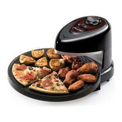 Presto - Pizzazz Pizza Oven - Cooks fresh, frozen, regular, or rising crust pizza to perfection. Freezer to perfect in minutes. While ordinary ovens are heating, you're eating. Rotating tray continually turns the pizza to assure even baking -top and bottom.