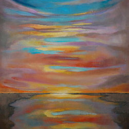 """As Above So Below"" (Original) By Jamie  Gaviola - The Sun Has Just Slipped Below The Horizon, Leaving A Spectrum Of Rich, Soft Colour, Reflecting Into A Body Of Water.  The Sunset Reminds Us Every Day To Be Grateful And Joyful To Be Alive ."