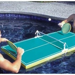 Poolmaster Floating TableTennis Game - Serve up the fun with the Poolmaster Floating Table Tennis Game. Its all foam table features a hard top that offers accurate gameplay and doubles as a handy floating table. It comes complete with 2 oversized paddles, net, and balls. Perfect family fun for all ages.