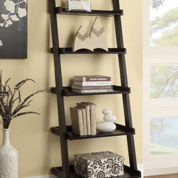 Coaster - Ladder Bookcase, Cappuccino - Personalize your home office with this stylish ladder-style bookcase. Featuring five shelves with back guards to keep your items safe. Finished in cappuccino.
