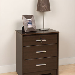 Prepac - Yaletown Espresso Wide Locking 3-drawer Night Stand - Youll have all the space you need with this Yaletown lockable three-drawer nightstand beside your bed. The rich espresso finish and sleek hardware will add a modern touch to any space. The top drawer is lockable to secure personal items.