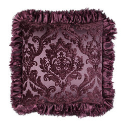 Brandi Renee Designs - Purple Medallion Print with Ruffle Pillow - Liven up a bland siting area or toss in some additional comfort on a bed with this stylish pillow.  The cozy polyfill insert is soft, yet supportive, so you're guaranteed complete relaxation. The velvet medallion print fabric offers luxurious texture with an eye-catching pattern. Complete with purple ruffle trim, it's the epitome of extravagance and sophistication.