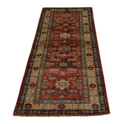 Red Super Kazak Rug 2'x7' 100 Percent Wool Tribal Design Hand Knotted Sh18091 - Our Tribal & Geometric hand knotted rug collection, consists of classic rugs woven with geometric patterns based on traditional tribal motifs. You will find Kazak rugs and flat-woven Kilims with centuries-old classic Turkish, Persian, Caucasian and Armenian patterns. The collection also includes the antique, finely-woven Serapi Heriz, the Mamluk Afghan, and the traditional village Persian rug.
