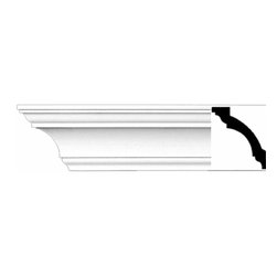 Renovators Supply - Cornice White Urethane Persephone - Cornice - Simple | 11779 - Cornices: Made of virtually indestructible high-density urethane our cornice is cast from steel molds guaranteeing the highest quality on the market. High-precision steel molds provide a higher quality pattern consistency, design clarity and overall strength and durability. Lightweight they are easily installed with no special skills. Unlike plaster or wood urethane is resistant to cracking, warping or peeling.  Factory-primed our cornice is ready for finishing.  Measures 3 1/4 inch H x 94 inch L.