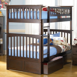 Atlantic Furniture - Columbia Twin Over Twin Bunk Bed w Flat Panel - NOTE: ivgStores DOES NOT offer assembly on loft beds or bunk beds. Includes upper and lower panels, rails, clip-on ladder, 2 slats and flat panel drawers. Mattress not included. Solid hardwood Mortise & Tenon construction. 26-Steel reinforcement points. Made of premium, eco-friendly hardwood with a 5-step finishing process. Designed for durability. Guard rails match panel design. Meet or exceed all ASTM bunk bed standards, which require the upper bunk to support 400 lbs.. Pictured in Antique Walnut finish. 1-Year manufacturer's warranty. Clearance from floor without trundle or storage drawers: 11.25 in.. 74 in. L x 22 in. W x 12 in. H. Flat panel drawers: 74.75 in. L x 40.38 in. W x 11.63 in. H. Bunk Bed Warning. Please read before purchaseThe Columbia bunk bed features a classic Mission style design with subtle curves and solid post construction.