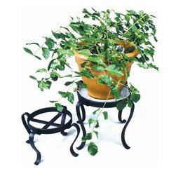"Achla - Small & Medium Metal Planter Stands - Set of - Gracefully curving legs sweep down to the floor from each circular frame of this two piece patio flower pot stand set which comes with a small and a medium component.  Their simplicity and weather-resistant features help to bring out the beauty of your horticulture.  Add a bit of drama to your home with these wrought iron plants stands.  Complimenting heights allow you to display plants of different sizes to their best advantage.  They're perfect for any room and make a wonderful gift for any plant lover. * Display your flowerpots to their best advantage with this Patio Flower Pot Stand Set. The pair is crafted of iron and powdercoated in midnight black for long lasting beauty and durability. Holds pots with bases up to 9.5"" and 12"" wide*Tray not included. Small: 9.5 in Dia. X 10 H in. Medium: 12 in Dia. X 12 H in"