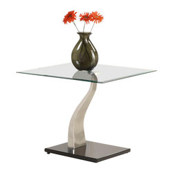 Homelegance - Atkins End Table - The bold curves of the Atkins Collection serve to create a touch of contemporary class in your modern home. Quality, style and minimalist beauty combine to create the perfect marriage of metal and glass in. this table collection.