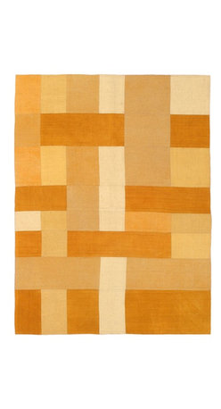 """Torabi Rugs - Flat-weave Bohemian Dark Orange Wool Kilim 4'11"""" x 6'7"""" - This patchwork rug is made of vintage classic kilim pieces which are sewn together to form a truly one of a kind larger rug. This quirky and eclectic piece is painstakingly hand stitched. Light weight, this can also be used as a bedspread or throw. A colorful and updated vision of style, color and texture."""