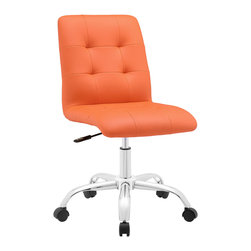 LexMod - Prim Mid Back Office Chair in Orange - Etiquette presides over the properly styled Prim armless office chair. Modern to the touch, luxurious to the eye, Prim features deep tufted buttons, skilled faux leather upholstery, and elegant trim for added finesse. Prim is height adjustable, swivels to a 360 spin, and comes outfitted with a polished chrome steel base with five dual-wheel nylon casters. Perfect for conference rooms, workstations or desks, Prim is a modern piece that works admirably to further the finer civilities of life.